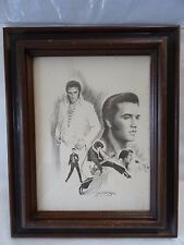 Vintage Elvis Presley Pencil Lithograph Art/Framed by Glen Fortune Banse