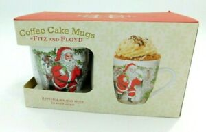 Coffee Cake Mugs By Fitz and Floyd 2016 Santa Vintage Holiday Mugs Hand Crafted