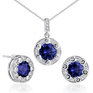 7.75 CT Round Blue Sapphire Sterling Silver Earring Pendant Set