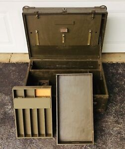US Army Military Green Chest Crate Engineer Surveyor Wood Storage Box Container