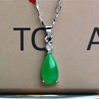 100% Natural Hand-carved Chinese green Jade Tear pendant Silver carving