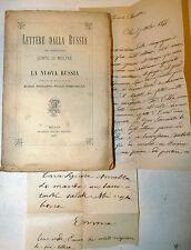 Conte Moltke: Lettere dalla Russia 1877 Treves + antica lettera manoscritta '800