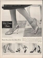 Vintage advertising print ad FASHION Shoes Red Cross Shoes carved Crystal Heels