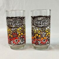 2 Orange Yellow Flowers Stained Glass Vintage 60s Coca-Cola Coke Glasses