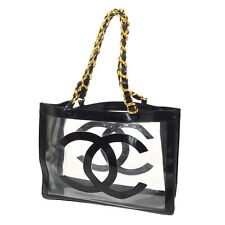 Auth CHANEL Quilted Jumbo XL CC Chain Shoulder Tote Bag Black Vinyl AK13742