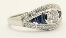 18ct. White Gold Art Deco Style Diamond and Sapphire Cluster RIng