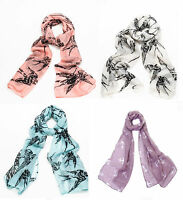 Scarf Swallow Design Bird Print Scarves Ladies Wrap Anchor Purple Blue Shwal COL