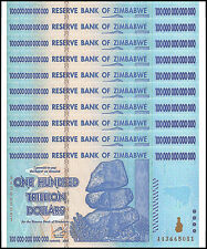 Zimbabwe 100 Trillion Dollars X 10 Pieces (PCS), AA/2008, P-91, UNC,100 Trillion