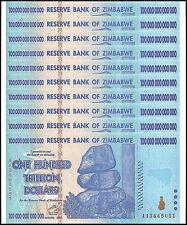 Zimbabwe 100 Trillion Dollars X 10 Pieces (PCS), AA/2008, P-91, UNC,100 Trillion