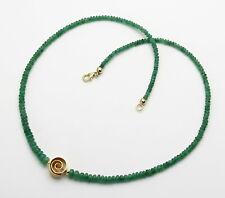 Smaragd Kette hellgrüne Smaragd Rondelle aus Brasilien mit Mittel-Element 46 cm