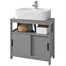 SoBuy Waschbeckenunterschrank Badschrank mit Fußpolster Unterschrank FRG128-SG