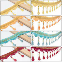 12Yard Curtain Tassel Crystal Beaded Fringe Trim Upholstery Cloths Ribbon Newest
