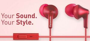 Panasonic ErgoFit Earbud Headphones with Microphone and Call Controller Red
