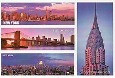 Brooklyn Bridge, Chrysler Building, Manhattan Skyline, New York City - Postcard