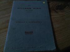Hillman Minx De Luxe Series V 5 Drivers Owners Handbook Instruction Guide Manual