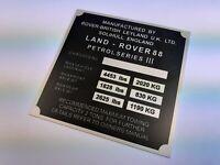 Land Rover Series 3 88 SWB Petrol Vin ID Plate