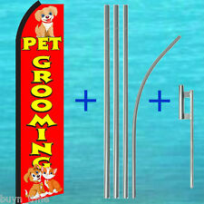 PET GROOMING FLUTTER FEATHER FLAG + 15' TALL POLE + MOUNT KIT Swooper Bow Banner