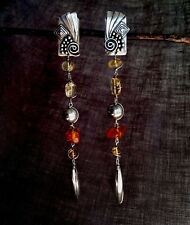 VTG STERLING SILVER & AMBER Dangle Earrings, Very Nice! USA Signed & Dated
