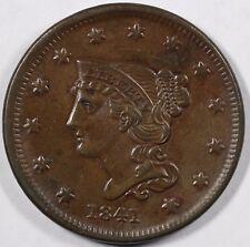 1841 1c Braided Hair Large Cent UNSLABBED