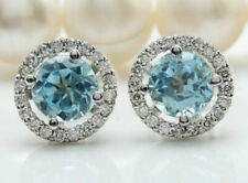 Aquamarine 925 Plated Silver Wedding Engagegement Drop Dangle Ear Stud Earrings