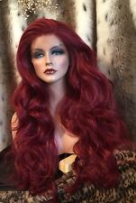 WOW!Burgundy Red Human Hair Blend,LACE FRONT,Long, Multipart, Heat Friendly Wig!