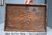 """14"""" Old Chinese Huanghuali Wood Dynasty Hand Carved Bat Fu 福 Plate Tray Salver"""
