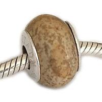 Large Hole Gemstone Bead Picture Jasper Sterling Silver Bracelet Charm