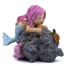 """Pink Haired Little Mermaid With Baby Sea Turtle Sparkly Figurine 3.5"""" Long New!"""