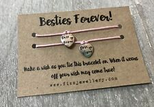Besties Forever! Duo Best Friend BFF Message Wish Bracelet Friendship Gift Xmas