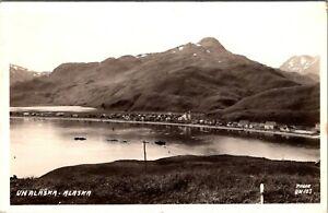 UNALASKA, ALASKA - PANORAMIC VIEW OF SEA TOWN & COUNTRY 1946 REAL PHOTO POSTCARD