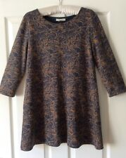 White Stuff 12 Grey And Tan Cotton Blend Jersey Fabric Tunic. Good Condition.