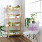 4 Tier Bamboo Shelf Bookcase Ladder-Shaped Plant Flower Stand Storage Rack