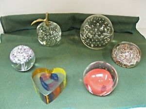 VINTAGE LOT OF 6 MISC GLASS PAPERWEIGHTS~NICE ASSORTMENT
