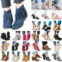 Women Ladies Flat Ankle Boots Casual Zipper Chunky Low Block Heels Shoes Size