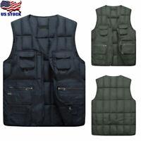 Mens Thicken Warm Vest Sleeveless Cotton Down Coat Winter Outwear Jacket Pockets