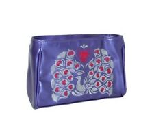 Anna Sui Purple Flight Of Fancy Make Up Case Purse Bag Wallet Zip Up Peacock