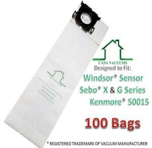 Casa Vacuums Windsor Sensor & Versamatic-Plus Vacuum Bags Also Sebo (100 Pack)