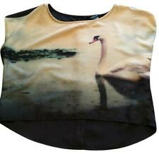 New H&M Divided Swan Print Shirt Graphic Top Blouse Short Crop Top new with tags