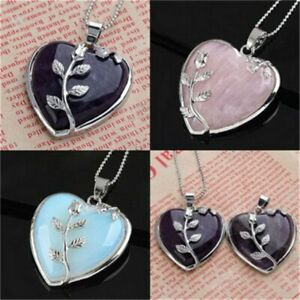 Women Heart Healing Mineral Chakra Reiki Gemstone Pendant Necklace Jewelry Gift
