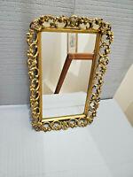 Vintage Antique  Brass Vanity Mirror Decorative Frame 16.5'' by 10.75''