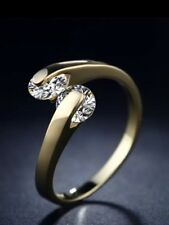 Ring Swarowski Zirkonia 18 Karat Vergoldet größenverstellbar Verlobung Gold