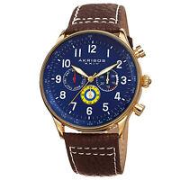 Men's Akribos XXIV AK751BR Swiss Multifunction Tachymeter Brown Leather Watch