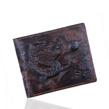 Dragon Print Genuine Leather Bifold Mens Wallet
