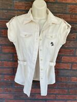 Harley Davidson Shirt Small Short Sleeve Button Front Cotton Spell Out Blouse