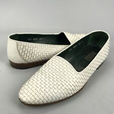 Gucci Italy Mens Slip On Woven Round Toe Loafers White Leather Size EU 46.5