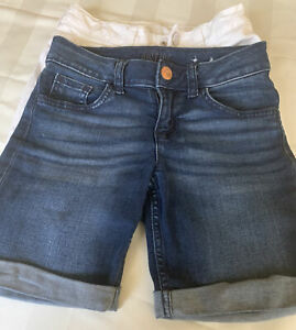 justice Denim shorts girls 8 3 pairs blue / white / coral