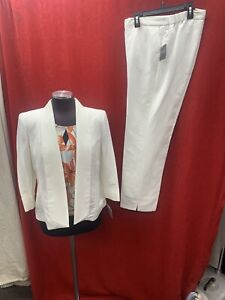 KASPER PANT SUIT/NEW WITH TAG/LINEN /INSEAM32/SIZE 14/TANK NOT INCLUDED/WHITE