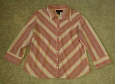 Ninety Button Down Shirt size XL extra large stripes/colorful/pink/orange/beige