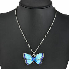 Stunning Blue Butterfly Crystal Necklace AUS SELLER