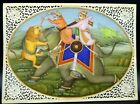 Hand Painted Watercolor Carved Panel - Indian Warriors - Lion & Elephant, Resin